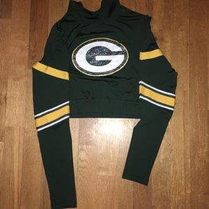 Green Bay Packers Sparkling Crop Top Sweater